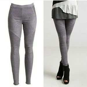 Pants - Last 1!🌟Charcoal Faux Suede Moto Leggings